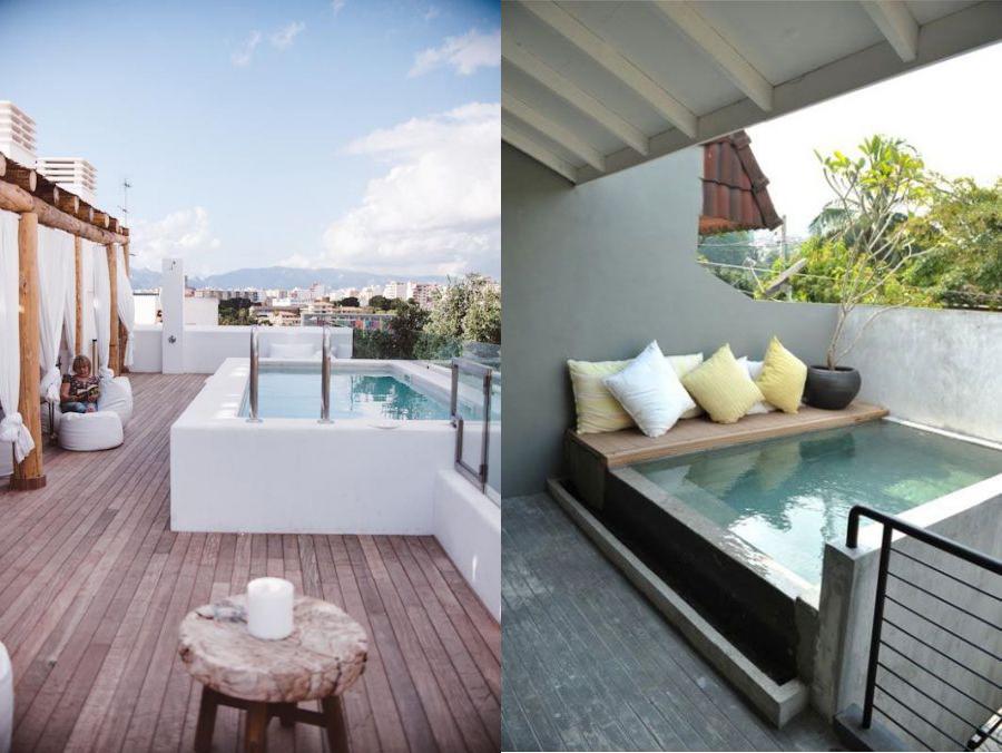 Piscinas pequeñas en terrazas